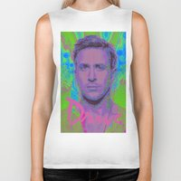 ryan gosling Biker Tanks featuring Drive - Ryan Gosling - Glitch by Esteban Corte