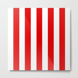Electric red - solid color - white vertical lines pattern Metal Print