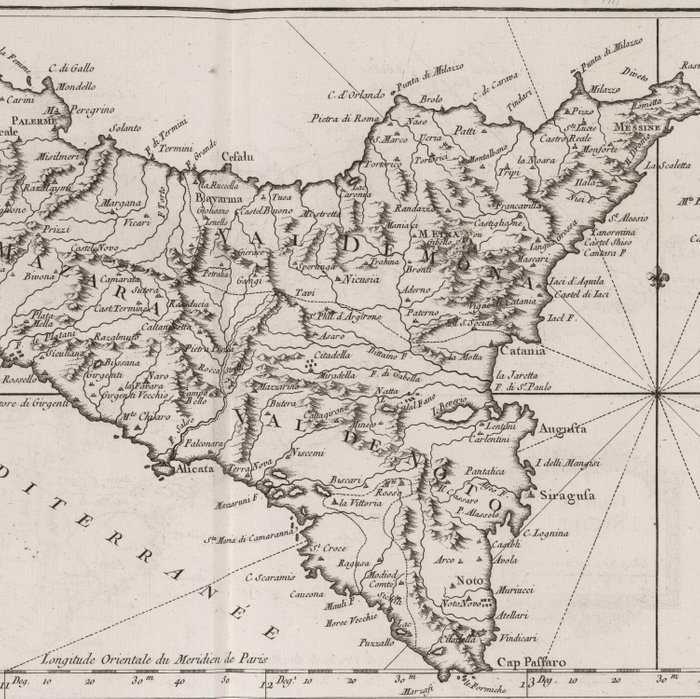 Vintage Map of Sicily Italy (1764) Duvet Cover