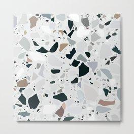 Gray Terrazzo Tile Pattern Metal Print
