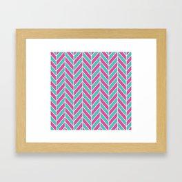 Pink and Teal Herringbone Pattern Framed Art Print