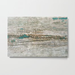Rustic Wood Ages Gracefully - Beautiful Weathered Wooden Plank - knotty wood weathered turquoise pa Metal Print