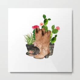 Boots and Cactus Metal Print