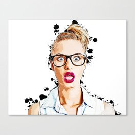 WOW Face Surprised Woman with Black Glasses and Open Mouth,  Pop-Art  Canvas Print