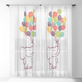 Flying Elephant Sheer Curtain