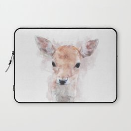 Watercolour deer fawn baby animal nursery kids room pastel pink Laptop Sleeve