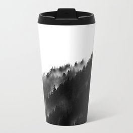 Black and White Fog Forrest Travel Mug