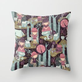 Adventure in Deep Forest Throw Pillow