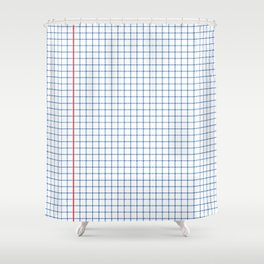 Dotted Grid Red and Blue Shower Curtain