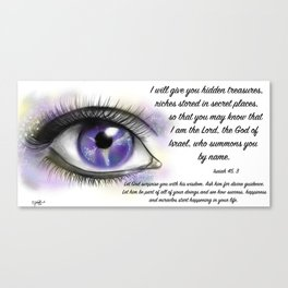 Galaxy eye - Isaiah 45, 3 Canvas Print