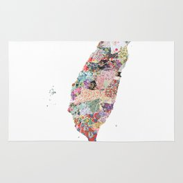 Taiwan map portrait Rug