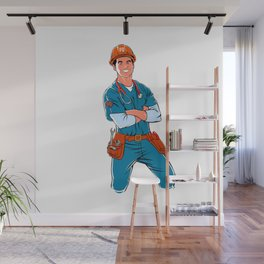 illustration of handyman with stethoscope Wall Mural