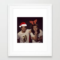 larry stylinson Framed Art Prints featuring Funny Larry Stylinson Christmas by girllarriealmighty