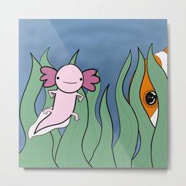 Axolotl Finds a Friend Metal Print