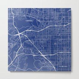 Pomona Map, USA - Blue Metal Print