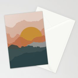 Minimal abstract sunset mountains Stationery Cards