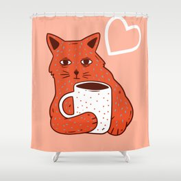 Peach Coffee Kitten Shower Curtain