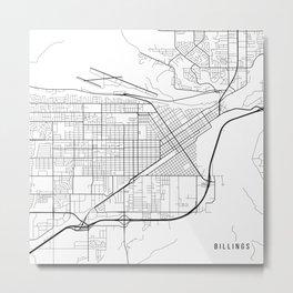 Billings Map, USA - Black and White Metal Print