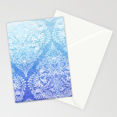 Out of the Blue - White Lace Doodle in Ombre Aqua and Cobalt Stationery Cards