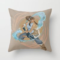 the legend of korra Throw Pillows featuring Korra by Vaahlkult
