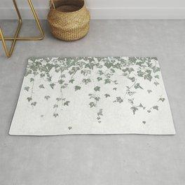 Gray Green Trailing Ivy Leaf Print Rug