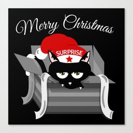 Naughty Cat Merry Christmas Canvas Print