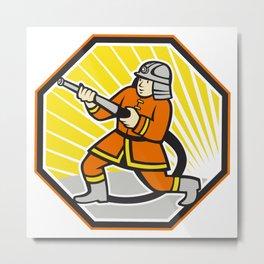 Japanese Fireman Firefighter Cartoon Metal Print