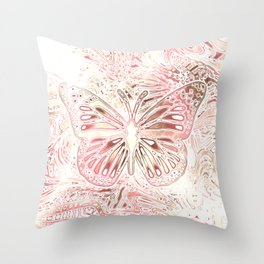 Monarch Butterfly In Pastel Pink Throw Pillow