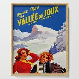 Vintage Vallee de Joux Switzerland Travel Serving Tray