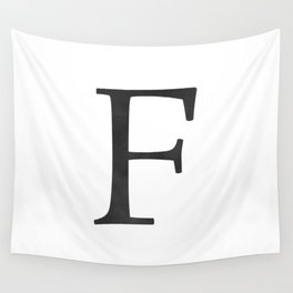 Letter F Initial Monogram Black and White Wall Tapestry