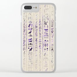 Amethyst Egyptian hieroglyphics on canvas Clear iPhone Case