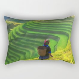 Hillside Harvest | Terraced Agriculture In China | Watercolor Painting Rectangular Pillow