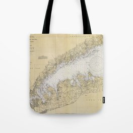 Vintage Map of The Long Island Sound (1934) Tote Bag