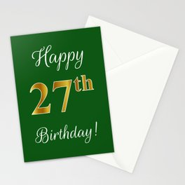"""Elegant """"Happy 27th Birthday!"""" With Faux/Imitation Gold-Inspired Color Pattern Number (on Green) Stationery Cards"""