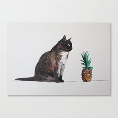 cat and pineapple Canvas Print