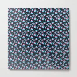 Pattern with Baby Feet  and Hearts on dark blue background Metal Print