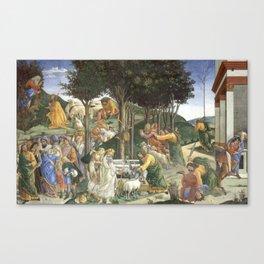 "Sandro Botticelli ""Youth of Moses"", Sistine Chapel. Canvas Print"