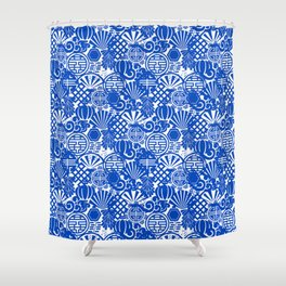 Chinese Symbols in Blue Porcelain Shower Curtain