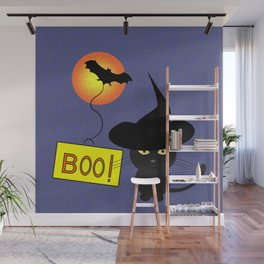 Cute cat trying to be scary for Halloween Wall Mural