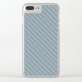 Blue & Linen White Grid Tessellation Pattern 2020 Color of the Year Chinese Porcelain & Oatmeal Clear iPhone Case