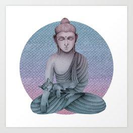 Buddha with cat2 Art Print
