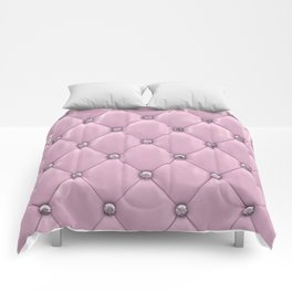 Diamond Pink Tufting Pattern Comforters