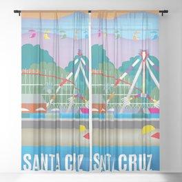 Santa Cruz, California - Skyline Illustration by Loose Petals Sheer Curtain