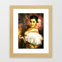 Jesus Helguera Painting of a Mexican Calendar Girl with Fan Framed Art Print