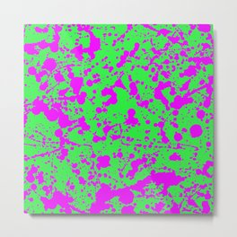 Fuchsia Spray Splatters on Neon Green Surface Metal Print