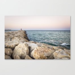 Sunset at the seawall Canvas Print