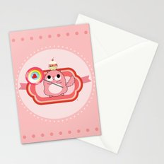 Pink lady with sweets Stationery Cards
