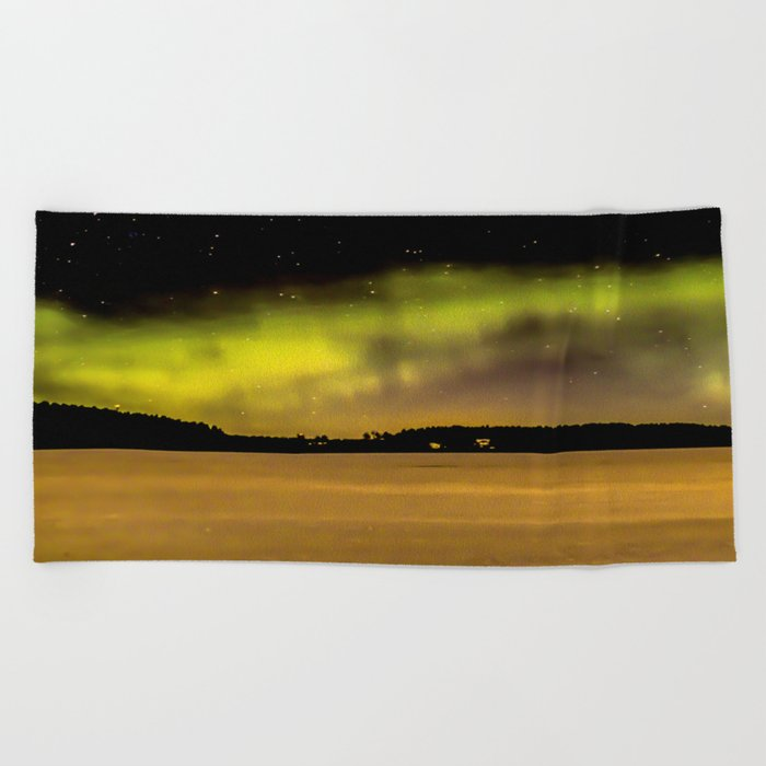 Northern Lights Fill The Sky Beach Towel