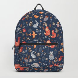 Fairy-tale forest. Fox, bear, raccoon, owls, rabbits, flowers and herbs on a blue background. Seamle Backpack
