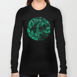 Green and black Marble texture acrylic Liquid paint art Long Sleeve T-shirt